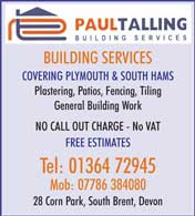 building services, plastering, patios, fencing, tiling and general building work
