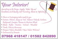 Design and make-up of qulity soft furnishings - blinds and upholstery